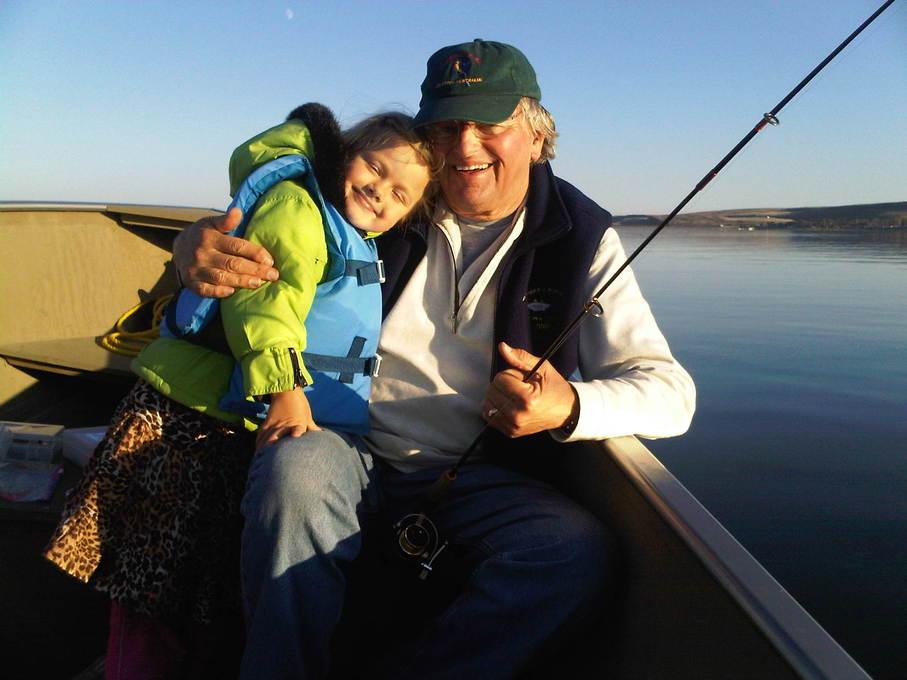 Franziska's first fishing trip with Grandpa